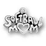Sterling silver softball mom charm