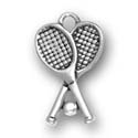 Silver double tennis racquets charm