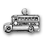 Sterling silver large school bus charm or pendant