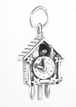 Silver cuckoo clock charm with moving bird