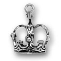 Silver queen king crown charm