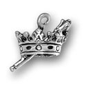 Silver crown with scepter charm