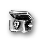 Silver Hope Chest charm with engraving on tope