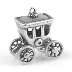 Silver coach charm with wheels that move