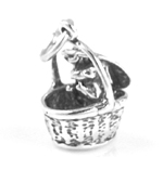 Silver basket with rabbit charm (opens)