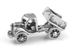 Silver dump truck charm with moveable bed