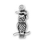 Silver owl with graduation hap charm