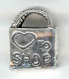 Sterling silver I Love to Shop charm