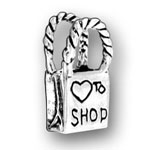 Sterling silver small I Love to Shop charm