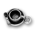 Silver cup and saucer charm