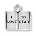 Sterling silver I Love to Read book charm