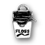 Silver dental floss charm