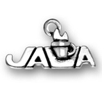 Silver JAVA coffee charm