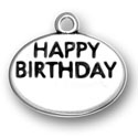 Silver Happy Birthday Engraveable Charm