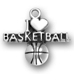 Sterling Silver I Heart Basketball Charm