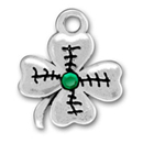 Sterling silver four leaf clover with green stone charm
