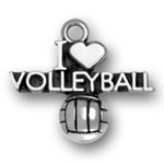 Silver I Heart Volleyball Charm