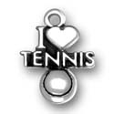 Silver I Love Tennis charm or pendant