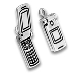 Silver Moveable Charm Cell Phone
