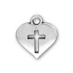 Silver Heart Charm with Cut Out Cross