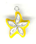 Silver enamel yellow starfish charm with crystals