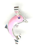 Silver enamel pink dolphin charm