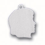 silver girl head engraveable charm