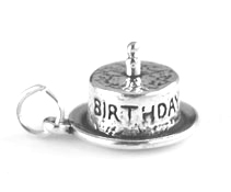 Silver Birthday Cake with one candle charm