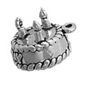 Silver Birthday Cake with 3 candles Charm