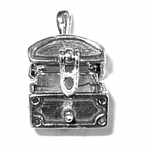 Silver moveable treasure chest charm that opens