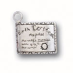 Silver Birth Certificate Charm