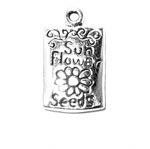 Silver packet of sunflower seeds charm