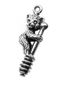 Sterling silver bear with honey dipper charm