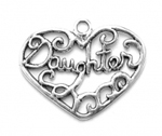 Silver daughter in heart charm or pendant