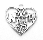 Silver Nana in Heart Charm