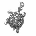 Silver dancing turtle charm