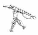Silver fishing pole with fish charm