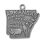 Silver Arkansas State Charm