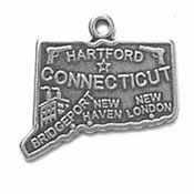 Silver Connecticut State Charm