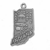 Silver Indiana State Charm