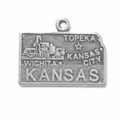 Sterling Silver Kansas State Charm