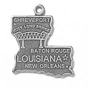 Silver Louisiana State Charm