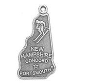 Silver New Hampshire State Charm