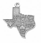 Silver Texas State Charm