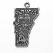 Silver Vermont State Charm