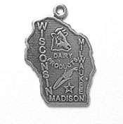 Silver Wisconsin State Charm