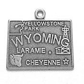 Silver Wyoming State Charm