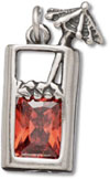 silver tropical drink crystal charm