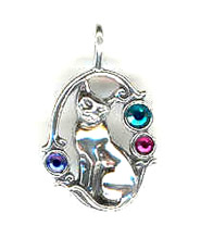 Silver crystal cat charm or pendant