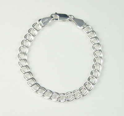 Silver Traditional Double LInk Charm Bracelet